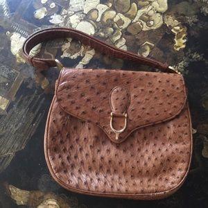 VTG early 70s Gucci ostrich saddle shoulder bag